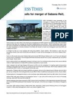 Business Times Activist Fund Calls for Merger of Sabana REIT, ESR REIT Nov 15 2019