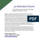 Rajapaksa Press Statement about Oxford Union Event