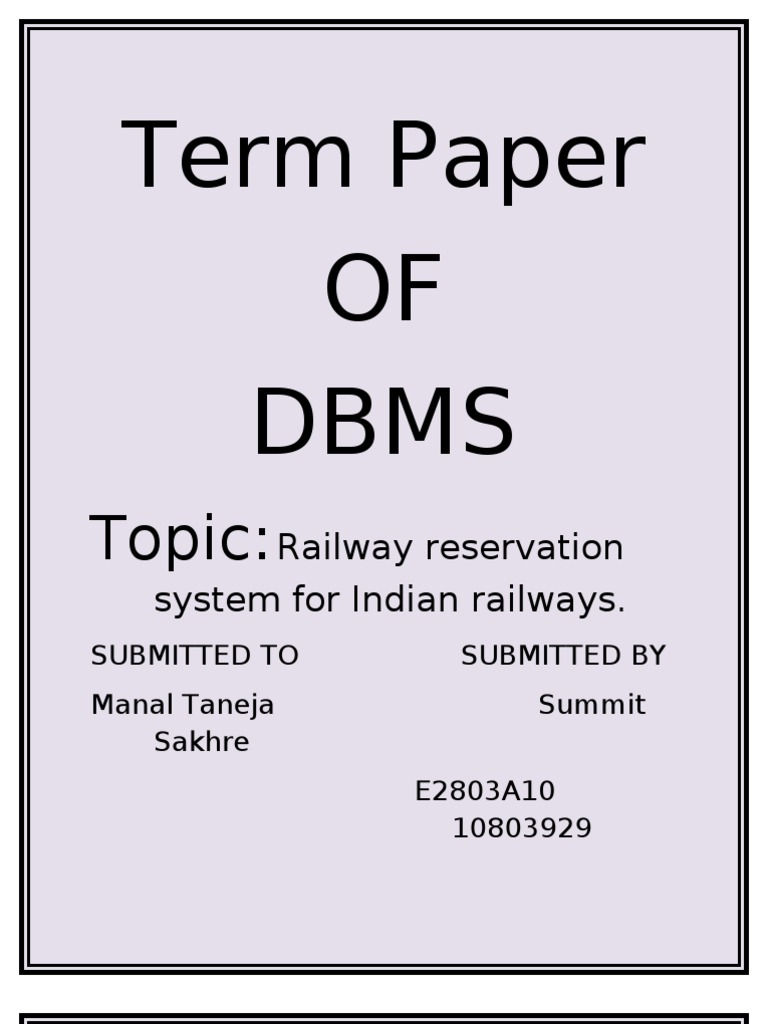 Data base of Railways Reservation System in India | Relational Model