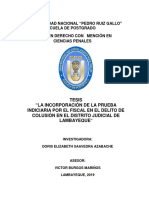 """""""LA INCORPORACIÓN DE LA PRUEBA INDICIARIA POR EL FISCAL EN EL DELITO DE COLUSIÓN EN EL DISTRITO JUDICIAL DE LAMBAYEQUE"""""""