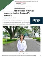 Entrevista con María Eugenia Lloreda, presidenta de Asocaña, sobre comercio de etanol