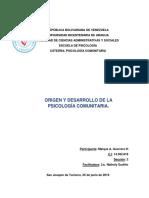 ENSAYO. ORIGEN Y DESARROLLO DE LA PSICOLOGIA COMUNITARIA