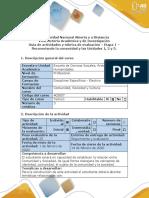 Guía de actividades y rúbrica de evaluación – Etapa 1 – Reconociendo la comunidad y las Unidades 1, 2 y 3