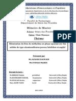 Elimination du bleu de méthylène en phase aqueuse sur des solides de type aluminosilicates poreux ( zéolithes et argile).pdf