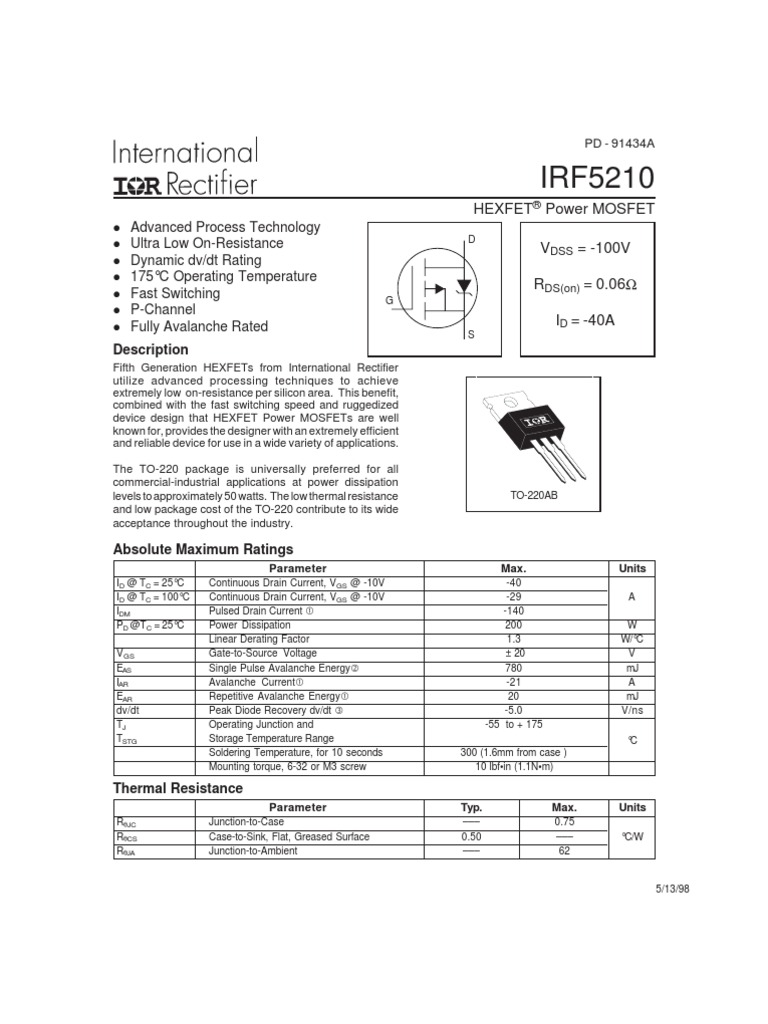 Irf5210 Field Effect Transistor Electrical Components The N Type Mosfet Irf3205s Can Be Replaced With Different Types Of