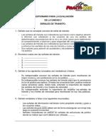 CUESTIONARIO PARA LA EVALUACIÓN DE LA UNIDAD 2 SEÑALES DE TRANSITO