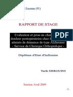 Rapport de Stage - Evaluation de La Douleur Post Opera to Ire Chez Les Patients Atteints de Demences Type Alzheimer