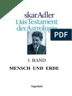 OSKAR  ADLER - TESTAMENT DER ASTROLOGIE - 3. BAND - Erde und Mensch