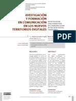 Investigacion y Formacion en Comunicacion en los Nuevos Territorios Digitales