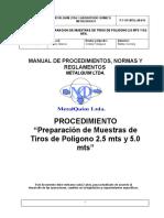P-T-OP-MTQ-LM-019 Preparacion de muestras de tiros de poligonos 2.5 mts y 5.0 mts