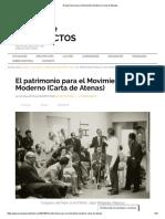 El patrimonio para el Movimiento Moderno (Carta de Atenas)