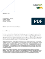 Letter from Synagro to Plainfield Township, abandoning plans for its proposed biosolids processing facility