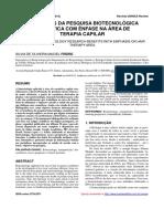 BENEFÍCIOS DA PESQUISA BIOTECNOLÓGICA COSMÉTICA COM ÊNFASE NA ÁREA DE TERAPIA CAPILAR