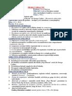 PROIECT DIDACTIC la limba și litaratura română