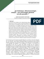 Musicologie historique, ethnomusicologie, analyse- Une musicologie générale est-elle possible?