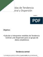 Unidad 2 Medida de Tendencias Central y Dispersión