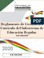 Reglamento de Gestión Curricular 2020 - Bolivia