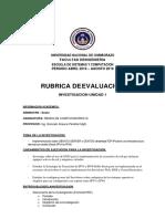 RUBRICA TRABAJO DE INVESTIGACION 1
