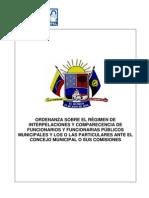 -Ordenanza sobre el Régimen de Interpelaciones y Comparecencia de Funcionarios Públicos Municipales y Los o Las Particulares Ante el Concejo Municipal
