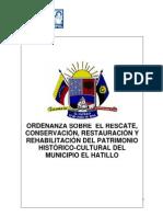 -Ordenanza sobre el Rescate, Conservación, Restauración y Rehabilitación del Patrimonio Histórico Cultural del Municipio El Hatillo