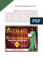 Start Your Own Play School | Best Preschool Franchise | Gurukul Preschool