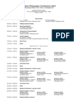 Filipino Philosophy Conference 2010 - Updated Event Agenda