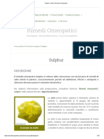 Sulphur, Sulfur, Rimedio omeopatico