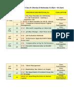 weekly schedule pio 2020