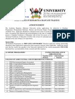 Makerere University Graduate Courses for 2020/2021 Academic Year
