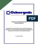 Lineamientos de actuación para las OR aplicables a la Supervisión