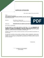 Modelo carta cotizacion - SERVICIO DE AREAS A CONTRATAR