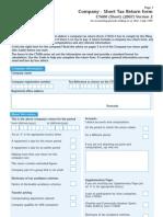 UK Company - Short Tax Return Form - CT600