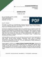 DSHS Warning Letter