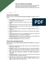 TIPO DE MYSQL BASE DE DATOSII 1DEBER