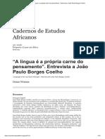 """WIESER, Doris. """"A língua é a própria carne do pensamento"""". Entrevista a João Paulo Borges Coelho"""