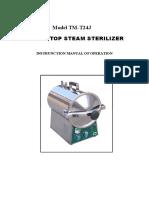 Model TM-T24J TABLE TOP STEAM STERILIZER INSTRUNCTION MANUAL OF OPERATION