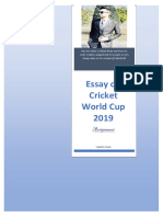 essay on Cricket 2019 World Cup
