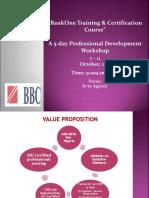 BankOne Training and Certification Program .