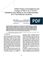 Adapting the Unified Theory of Acceptance and Use of Technology (UTAUT) as a Tool for Validating User Needs on the Implementation of e-Trial Software Systems