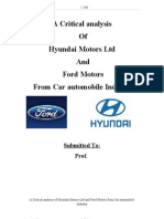Car Automobile Industry a Critical Analysis of Hyundai Motors Ltd and Ford Motors From Car Automobile Industry Thesis 116p