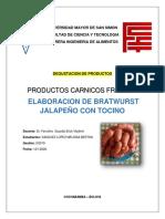 BRATWURST JALAPEÑO 'INFORME DEGUSTACION