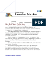 How To Write A Profile Story