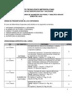 Cronograma Geometría Analítica XRGV03 - 2019 01