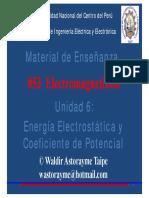 Unidad 6 - Energía Electrostática y Coeficiente de Potencial 2019