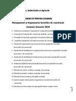 Subiecte Organizare  - Construcții Civile