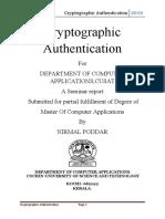 Cryptographic Authentication Seminar