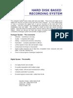 Hard Disk Based Recording