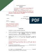 MyLegalWhiz - Complaint for Accion Publiciana