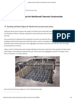Quantity and Rate Analysis for Reinforced Concrete Construction