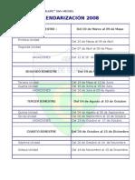 Calendarización 2008